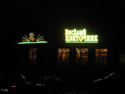 Светодиодная реклама Веселый Цветочник ночью